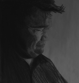 Dad 65x65cm, charcoal on paper