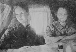 A woman and a man 65x95cm, pencil and charcoal on paper