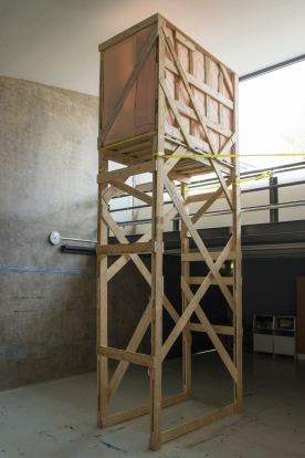 A Place to hide, 2016, 1m x 2m x 5.1m, waste timber, textile Photo: Niklas Feinik