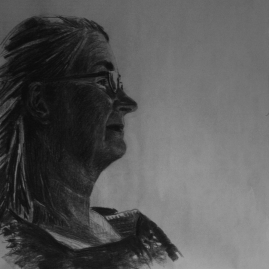 Mom 65x65cm, charcoal on paper