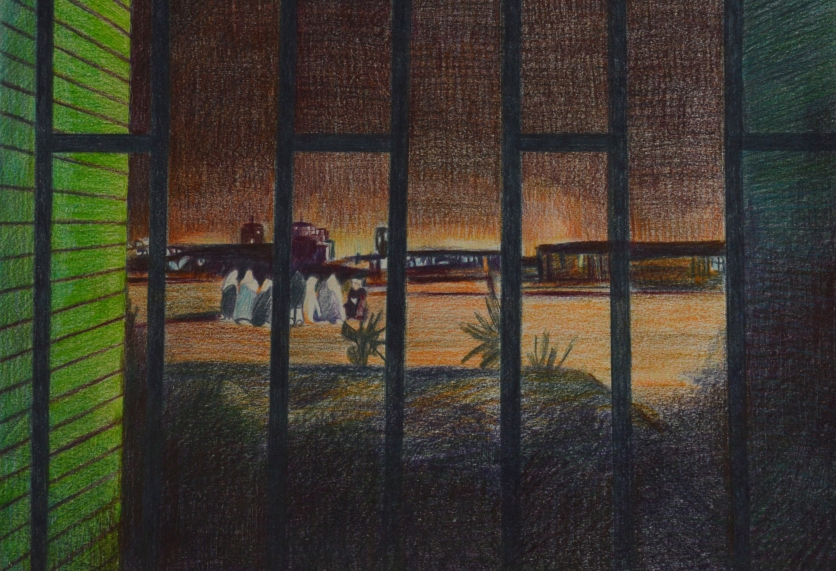 Small drawings with pencil. Memories from Iran: From window of dormitory