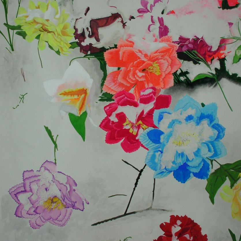 The best place - flowers 2010 145 x 180 cm, gouache on paper