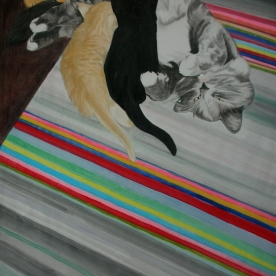 The best place - Mirri and the kittens 2010 145 x 180 cm, gouache on paper