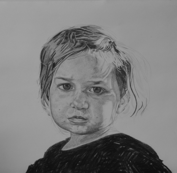 Ester 65x65cm pencil and charcoal on paper
