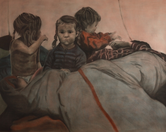 In a tent 12x150cm, pastel colours on paper